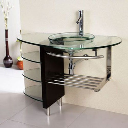 36 Inch Bathroom Tempered Clear Glass Vessel Sink Vanity