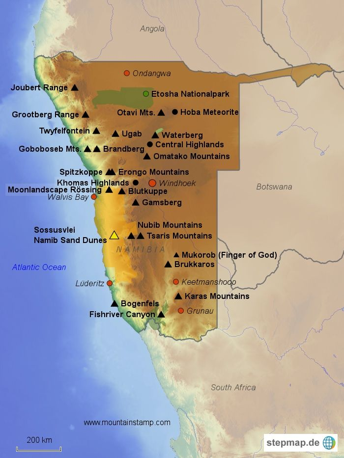 Image result for map of namibian mountains