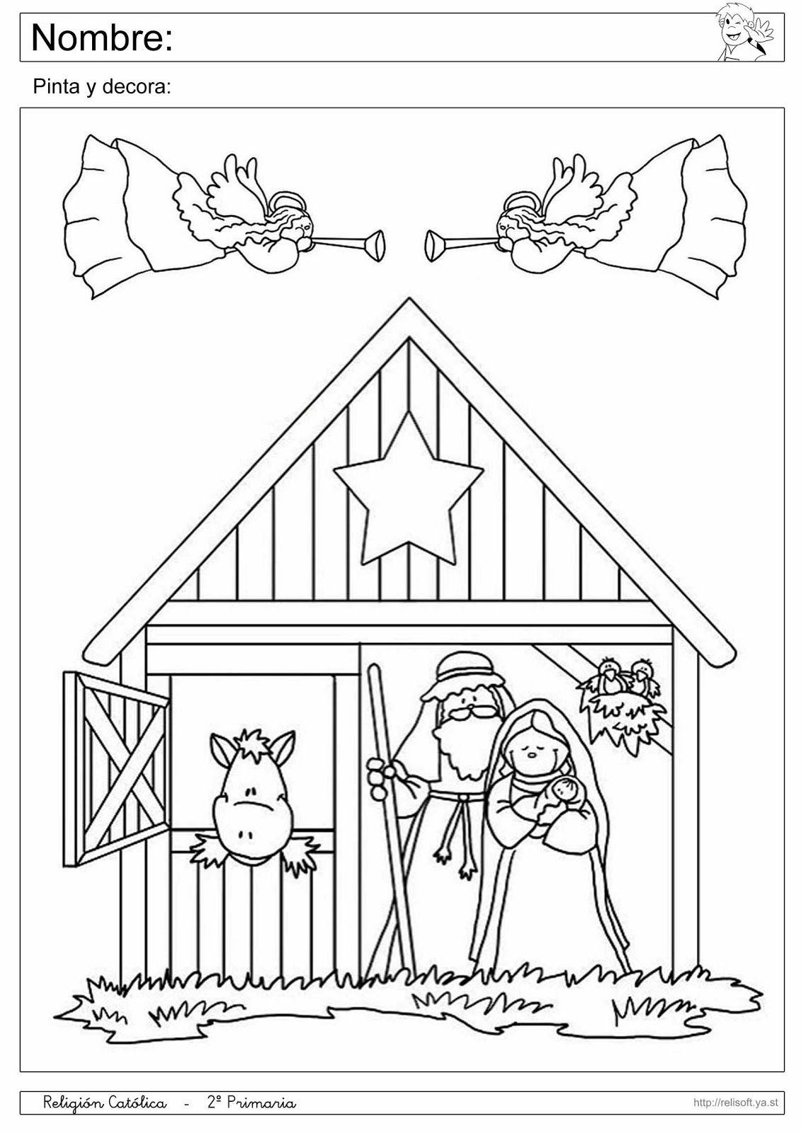 Fichas De Dibujos De Navidad.Recursos Religion Catolica Fichas 1º Y 2º Primaria