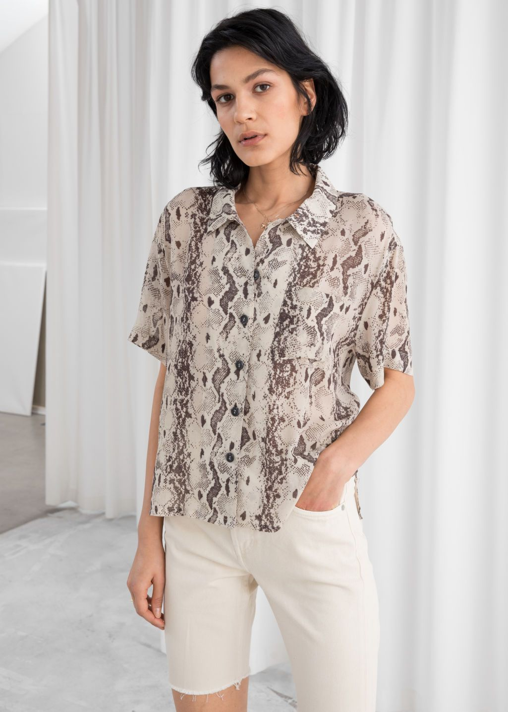 e8f833fb56ad1 Sheer Snake Print Button Up Shirt - Snake Print - Shirts -   Other Stories
