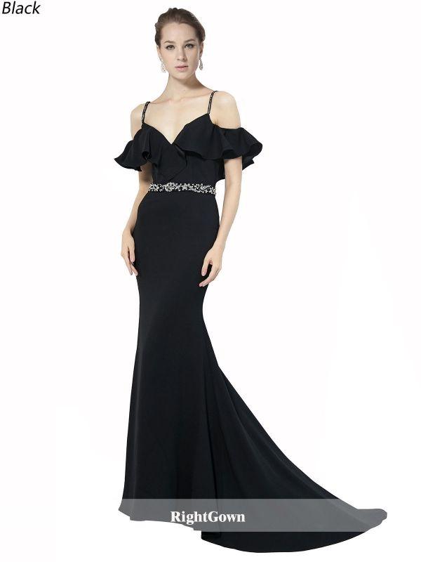 Best for Prom, Buy Mermaid V-Neck Long Elastic Satin Sleeveless ...
