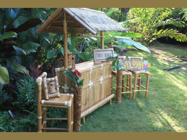 The 100% Green  Tiki Bar is authentic and comes to you straight from Hawaii where it is hand crafted from only high quality bamboo and hardwoods. It even has a hand crafted thatch roof. Both beautiful and sturdy, your outdoor tiki bar is made to withstand the weather. But you can also set it up indoors and create instant tropical decor in any room with a standard 8 foot ceiling.