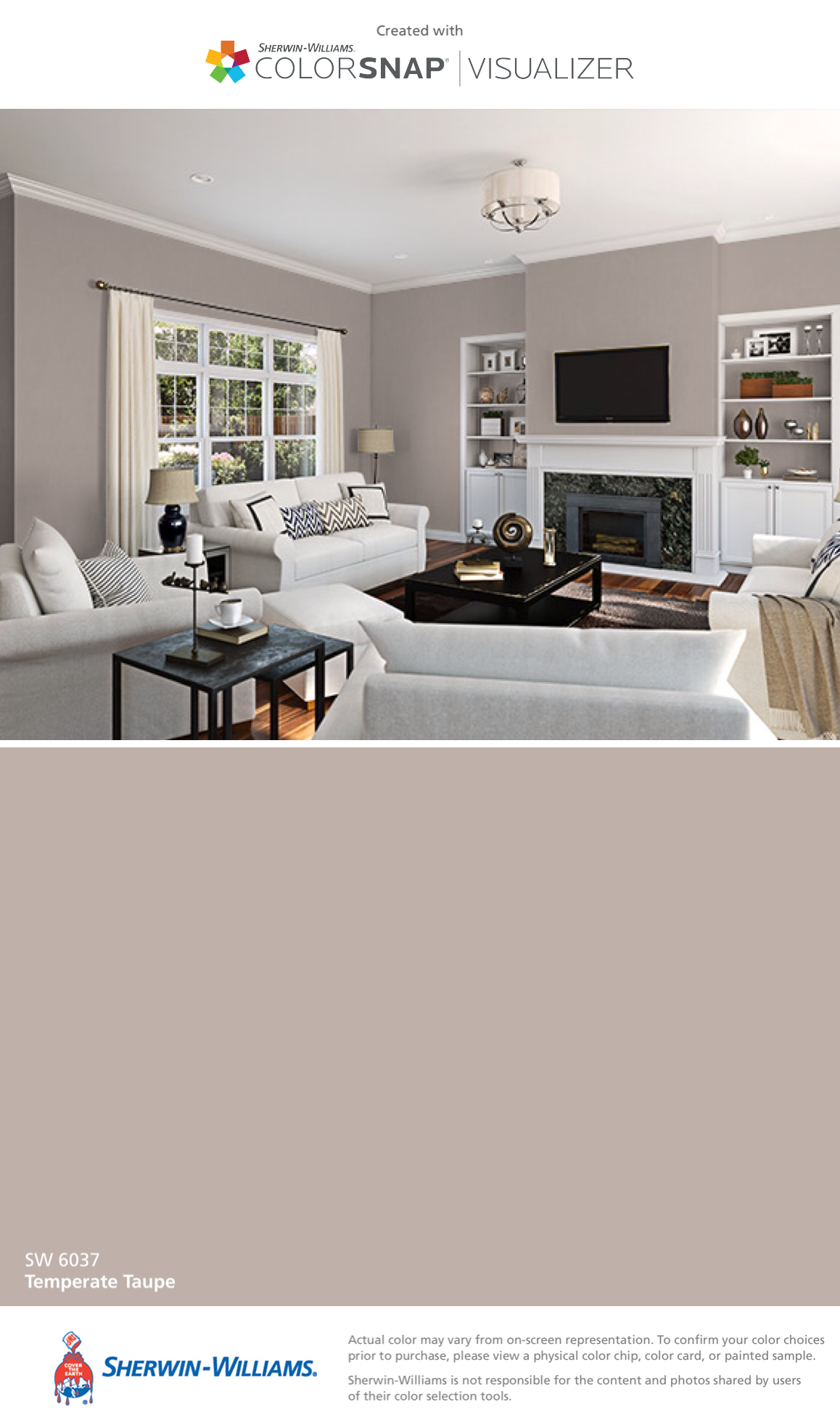 I Found This Color With Colorsnap Visualizer For Iphone By Sherwin Williams Temperate Taupe Sw 6037