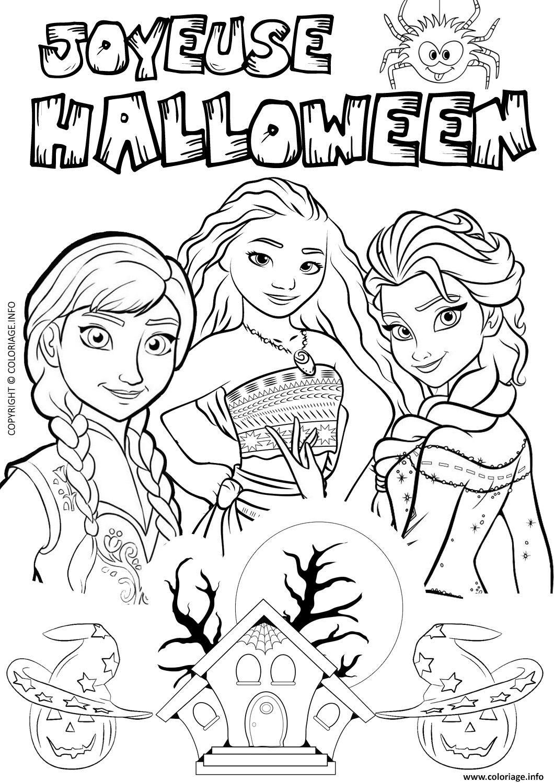 Coloriage halloween reine des neiges elsa vaiana à ...