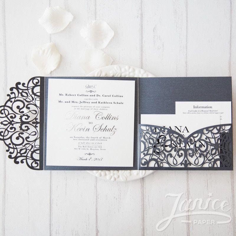 elegant floral tri fold laser cut wholesale wedding invitation wpfc2125 wpfc2125 155 - Wedding Invitations Laser Cut