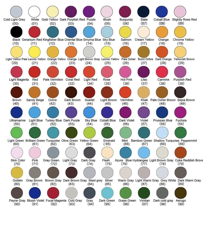 marco renoir fine art 100 set color chart with names