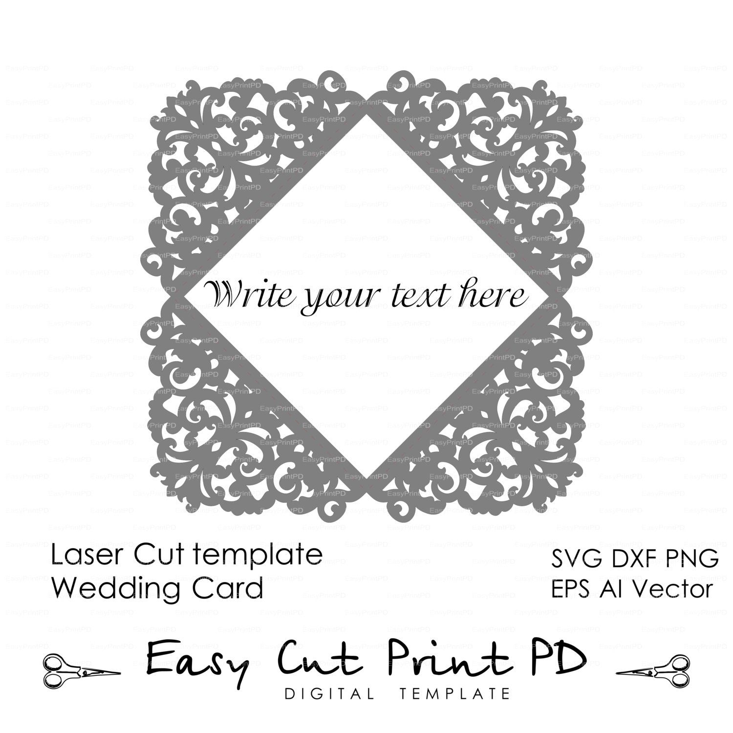 Lace Wedding invitation Card Template folds (svg, dxf, dwg, ai, eps ...