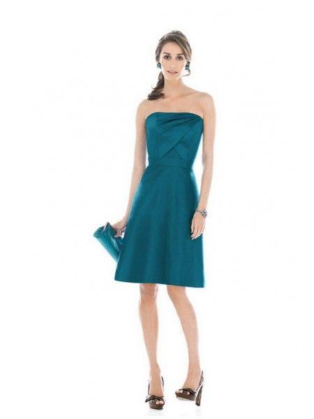 Blue A-line Strapless Short Taffeta Prom Dress DMBD0020