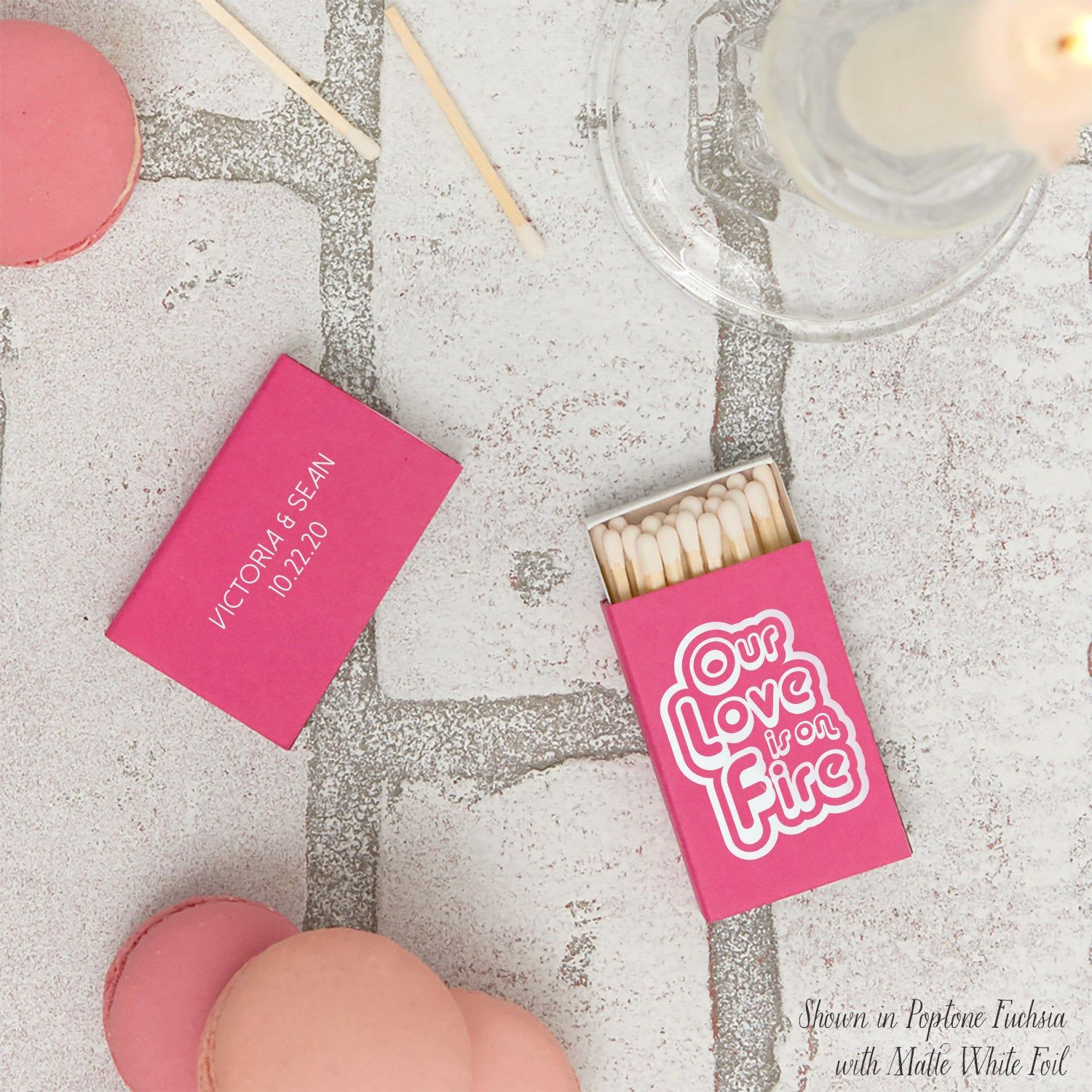 Custom Wedding Matchboxes Retro, Our Love is on Fire