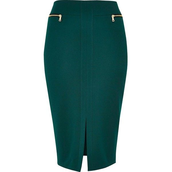 0a06c55c3 River Island Dark green double zip pencil skirt ($41) ❤ liked on Polyvore  featuring