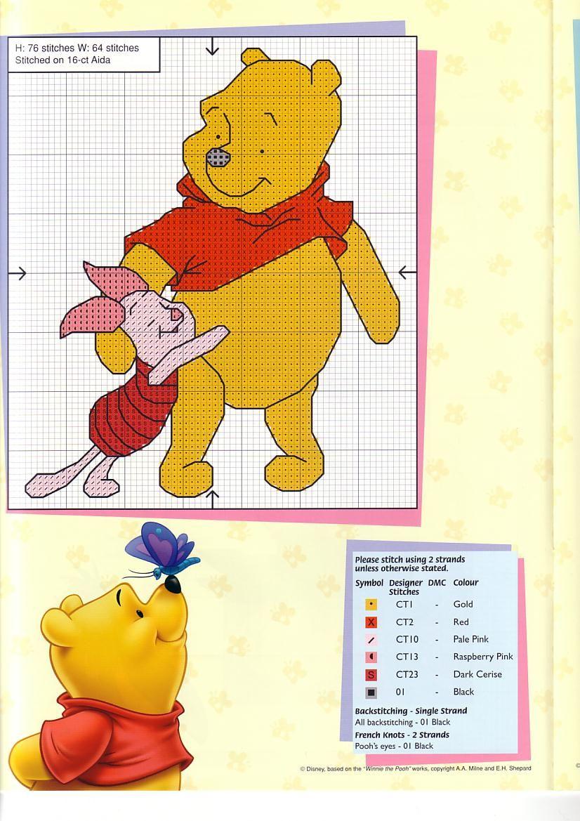 Trapunta Winnie The Pooh.Schema Punto Croce Cartoline Winnie 3 Diy Crafts That I Love