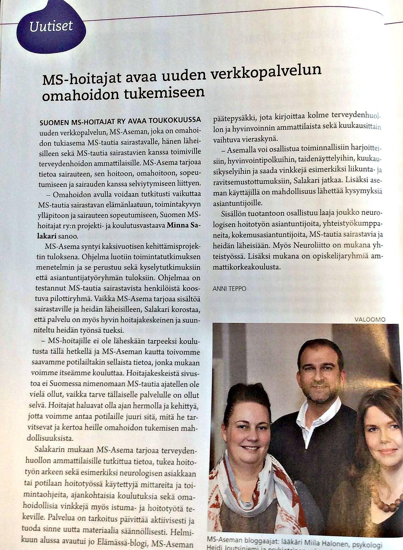 Mukana luomassa MS-Asemaa Suomen MS-hoitajien kanssa! :) #hoitotyö #MStauti #artikkeli #AVAIN #lehti