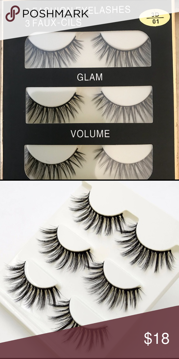 3a31f25153c 💋Professional 3-D Eyelashes 💋💄 💄💋Glam volume sexy three pairs of fox  3-D lashes color black💋💄 Profesional lash Makeup False Eyelashes