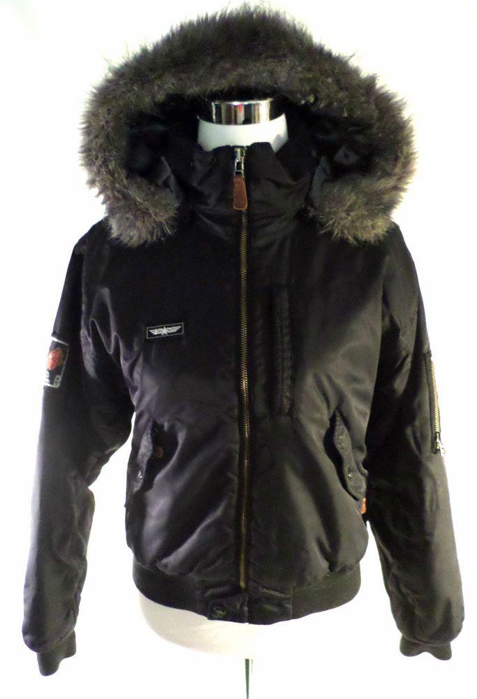 Womens Size XS Burton OSI Snowboarding Jacket, Black Aviator Style, Faux Fur