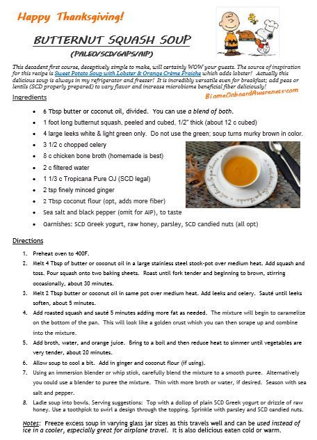 """Butternut Squash Soup (PALEO/SCD/GAPS/AIP)  •6 Tbsp butter or coconut oil   •1 foot long butternut squash, peeled and cubed, 1/2"""" thick (about 12 c cubed) •4 large leeks white & light green only.  Do not use the green; soup turns murky brown in color. •3 1/2 c chopped celery •8 c chicken bone broth  •2 c filtered water  •1 1/3 c Tropicana Pure OJ (SCD legal) •2 tsp finely minced ginger •2 Tbsp coconut flour (opt, adds more fiber) •Sea salt & black pepper (omit for AIP), to taste"""