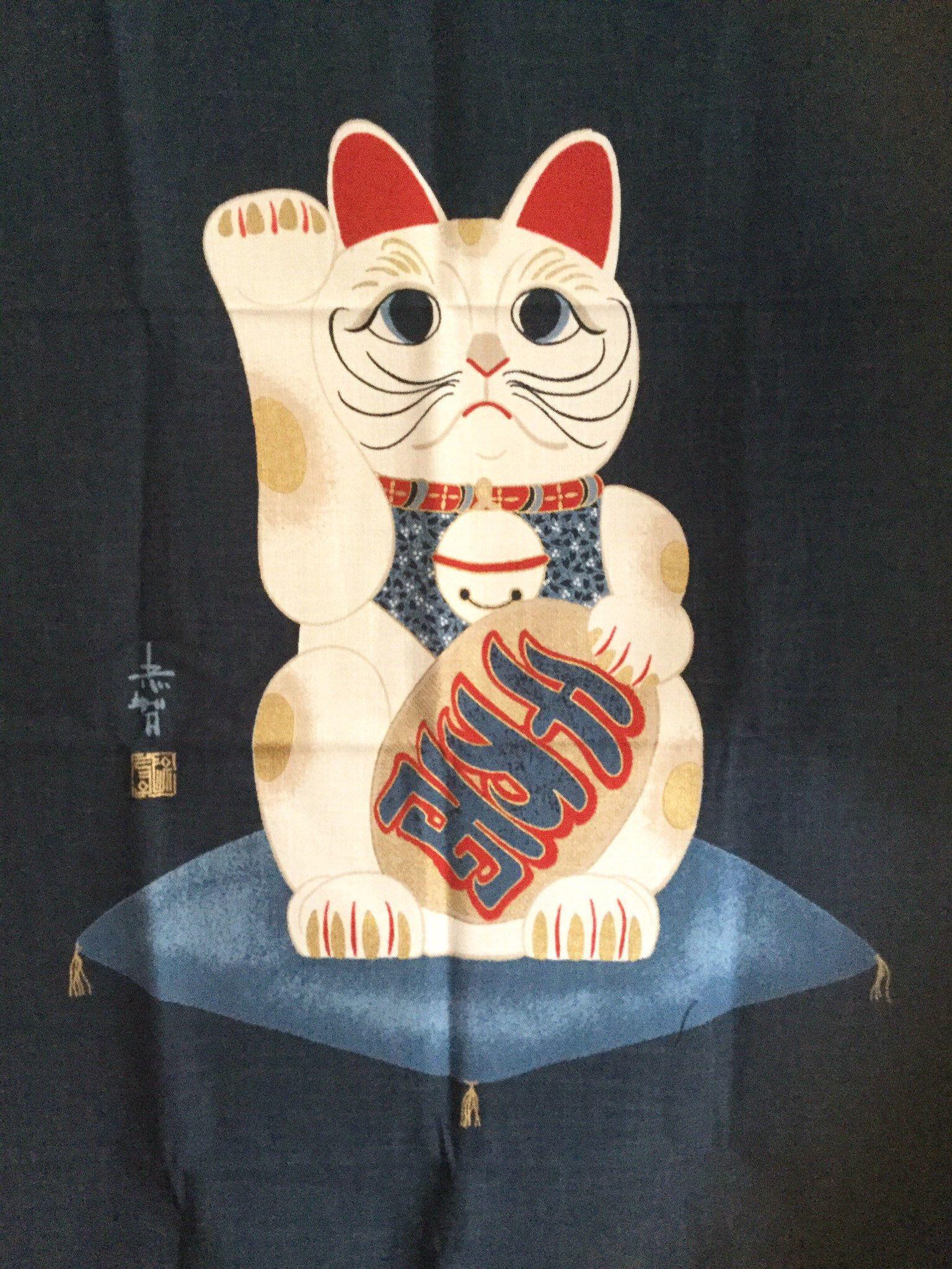Aizome Indigo Blue Tapestry,Japanese Lucky Cat Fabric
