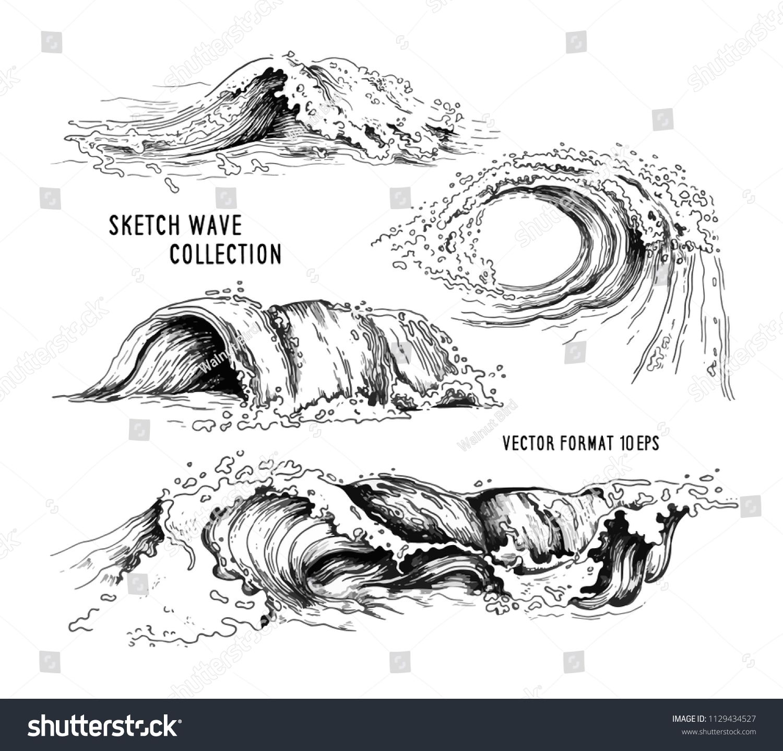 Sea Waves Handdrawn Sketch Sketch Ocean Waves Vintage Hand Drawn