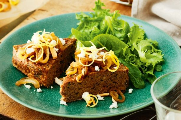 This meatloaf is inspired by the taste of Middle Eastern kibbeh, using lamb mince, cinnamon and burghul (cracked wheat). Lamb and burghul meatloaf