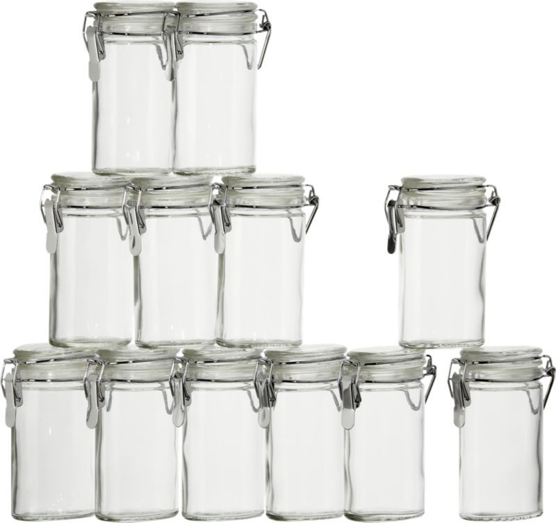 Set of 12 Oval Clamp-Top Spice-Herb Jars in Kitchen Storage | Crate