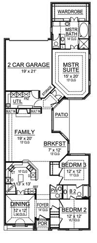 De Cordova 4858 3 Bedrooms And 2 5 Baths The House Designers Narrow House Plans House Plans Narrow Lot House Plans