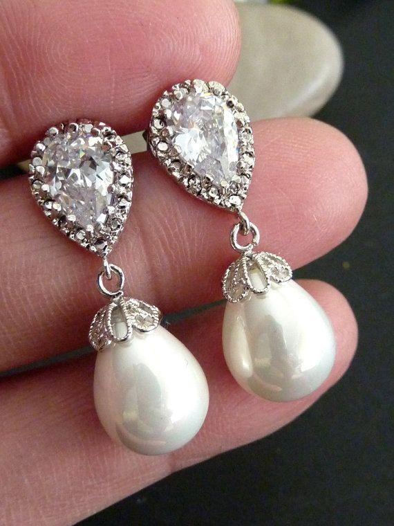 Bridal Earring  White Teardrop Pearl Round CZ by JCBridalJewelry, $32.95
