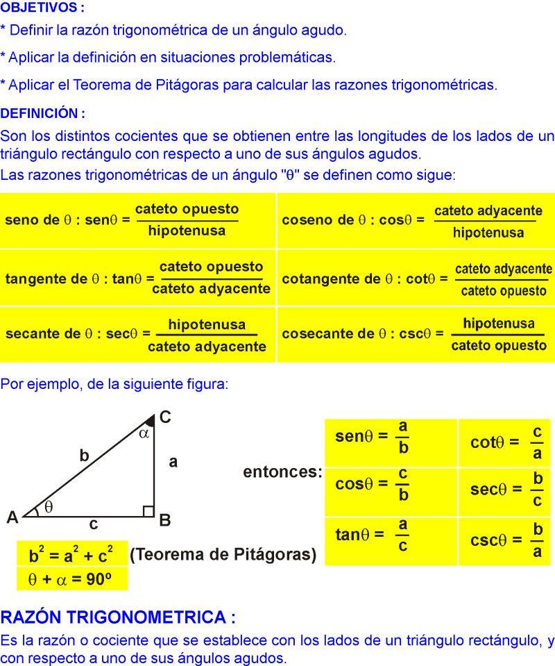 Razones Trigonometricas De Angulos Agudos Ejercicios Resueltos Pdf Razones Trigonometricas Ejercicios Resueltos Actividades De Geometria