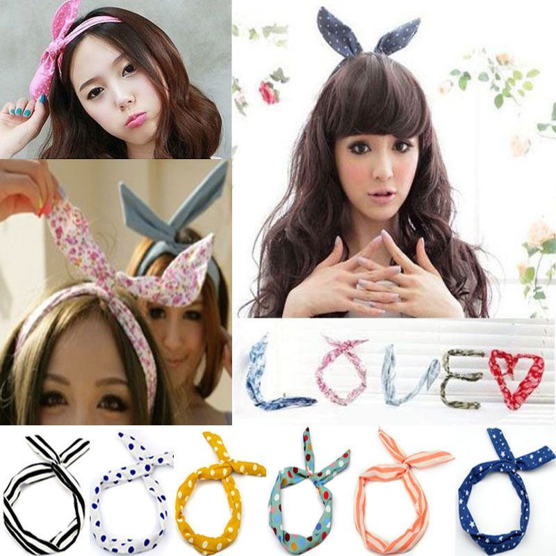 hot fashion multicolor korean girl bunny ear headband rabbit