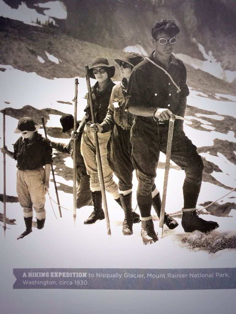 I sort of love these ladies' jodhpurs-like hiking pants from the 1930s. Also: that mountain man is seriously hot