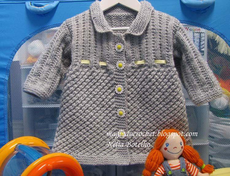 Magia do Crochet: Casaco em tricot e boina em crochet para menina