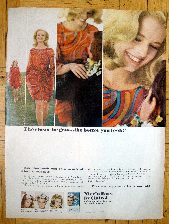 1966 Clairol Nice N Easy Shampoo Hair Coloring Original Etsy Clairol Hair Shampoo Hair Color