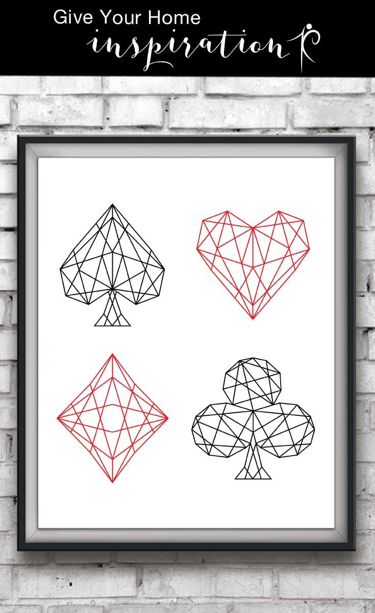 club photo red on card poker black heart and difference stock diamond background