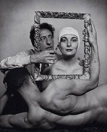 Cocteau, with ballerina Ricki Soma (Anjelica Huston's mother) and dancer Leo Coleman, 1949.  Photographed by Philippe Halsman for LIFE.