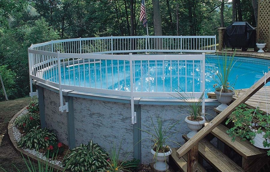 Above ground pool deck fencing for Above ground pool decks orlando
