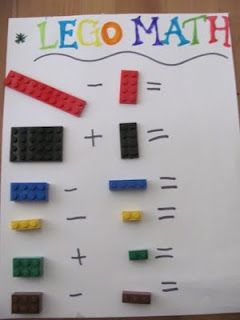 Lego math- this may be too much for my Pre-k kids but ... they would LOVE it!! They are obsessed with Legos right now!