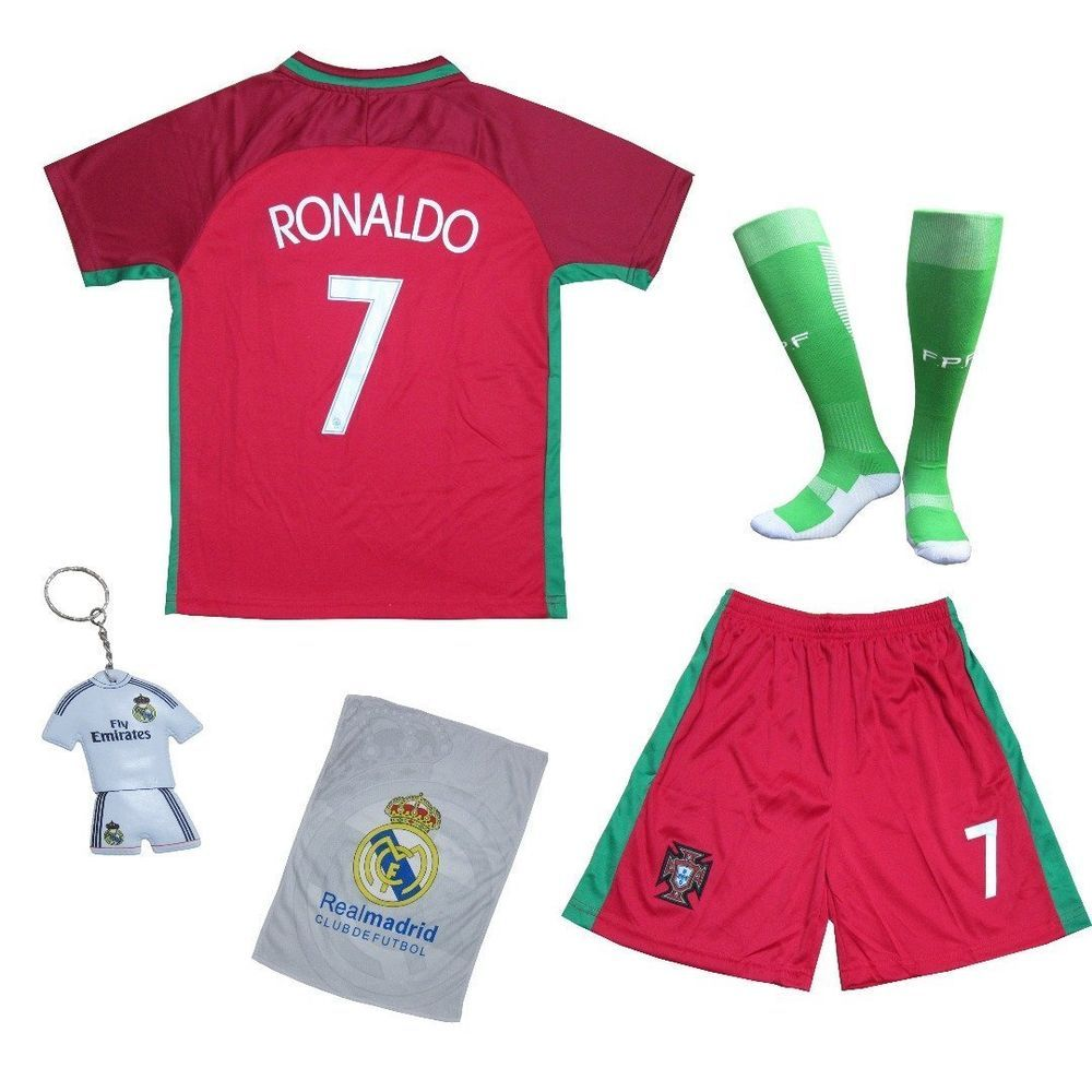 buy popular f3024 9fe50 Ronaldo #7 Portugal Red Home Soccer Jersey & Shorts Uniform ...