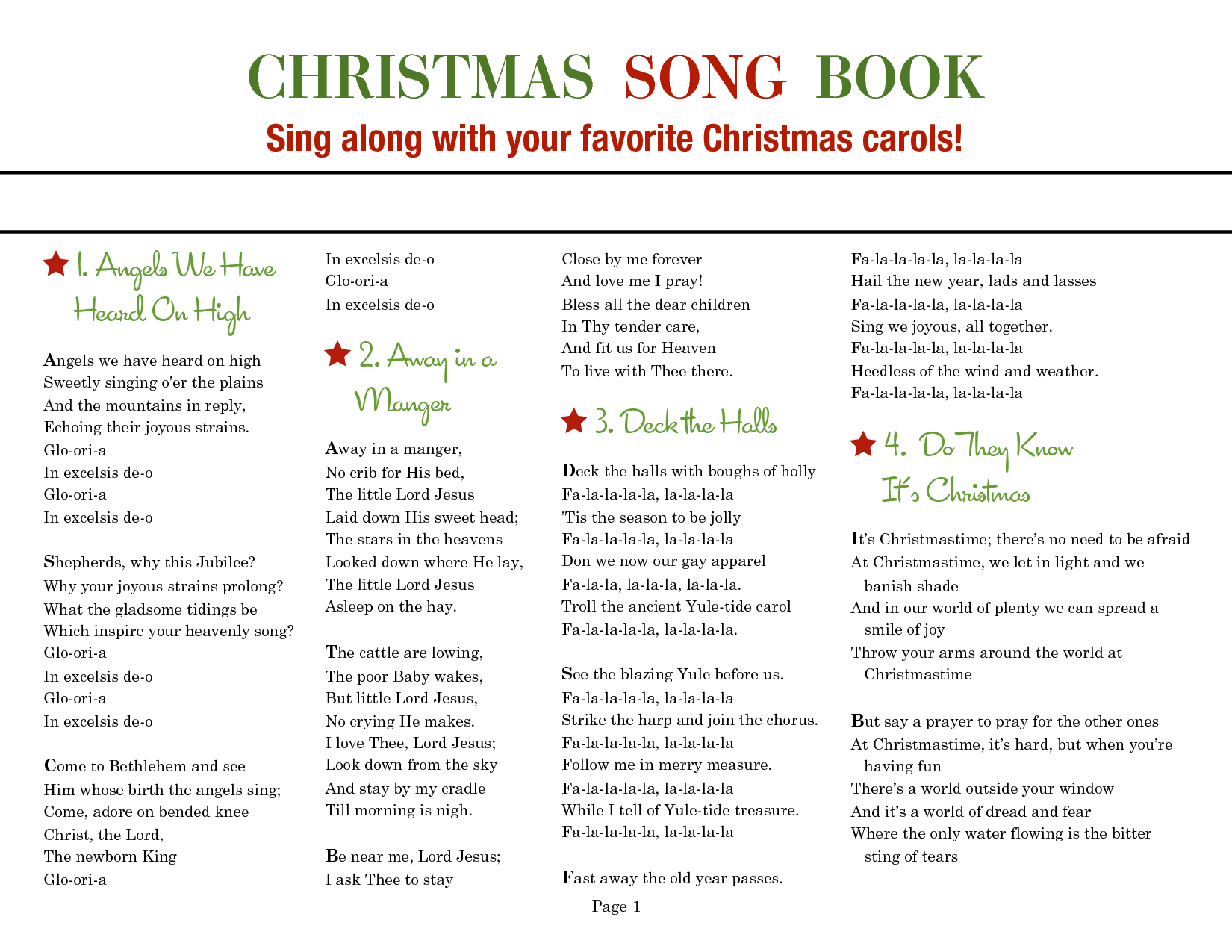 This is a photo of Challenger Printable Christmas Carols