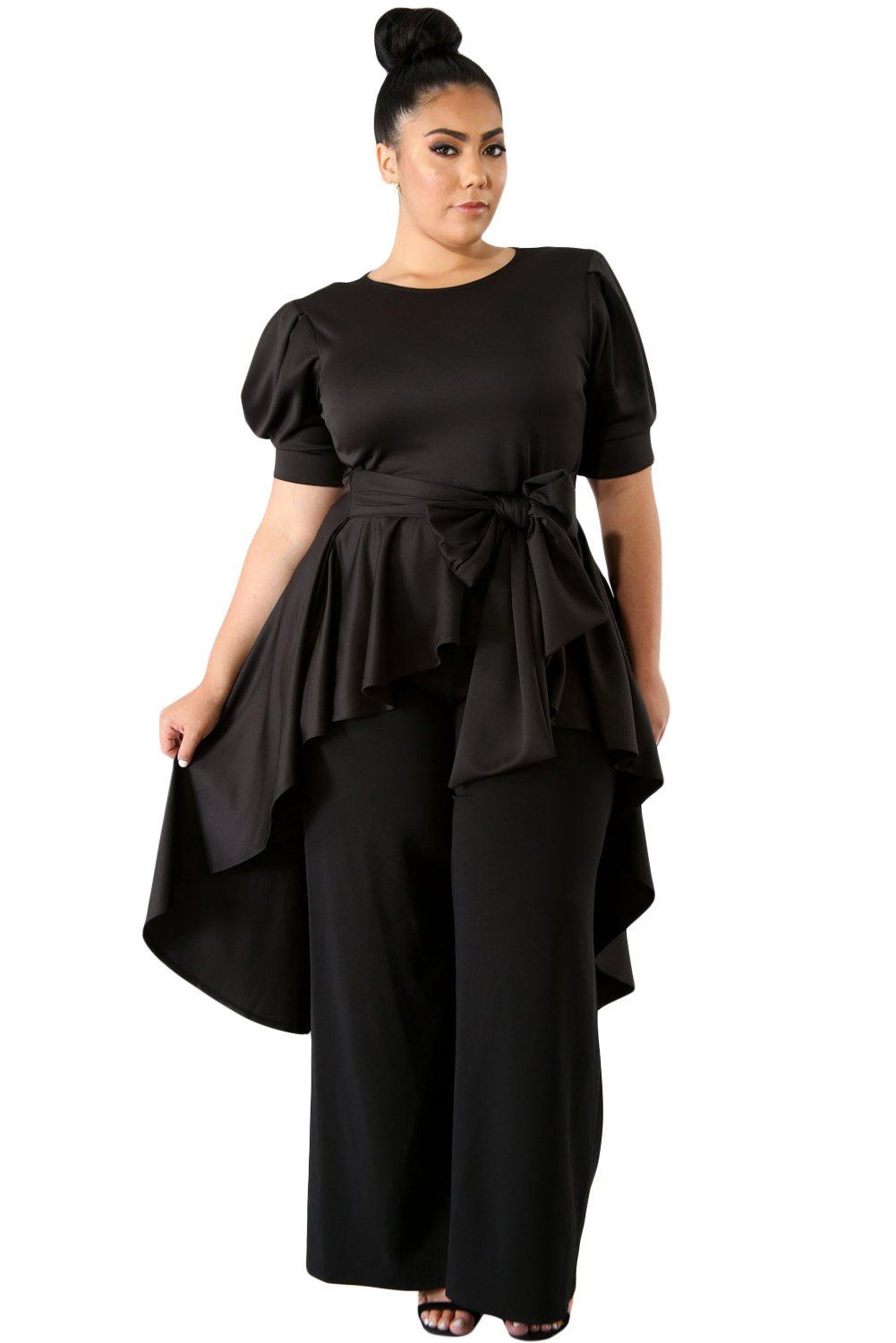 Z Chicloth Black Puff Long Tail Plus Size Top