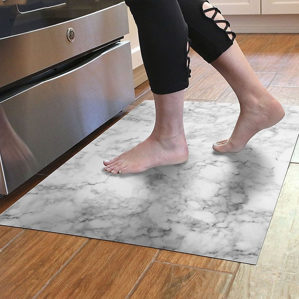 Florart 24 X 36 Classic Marble Kitchen Mat In White Kitchen Marble Kitchen Mat Kitchen Room