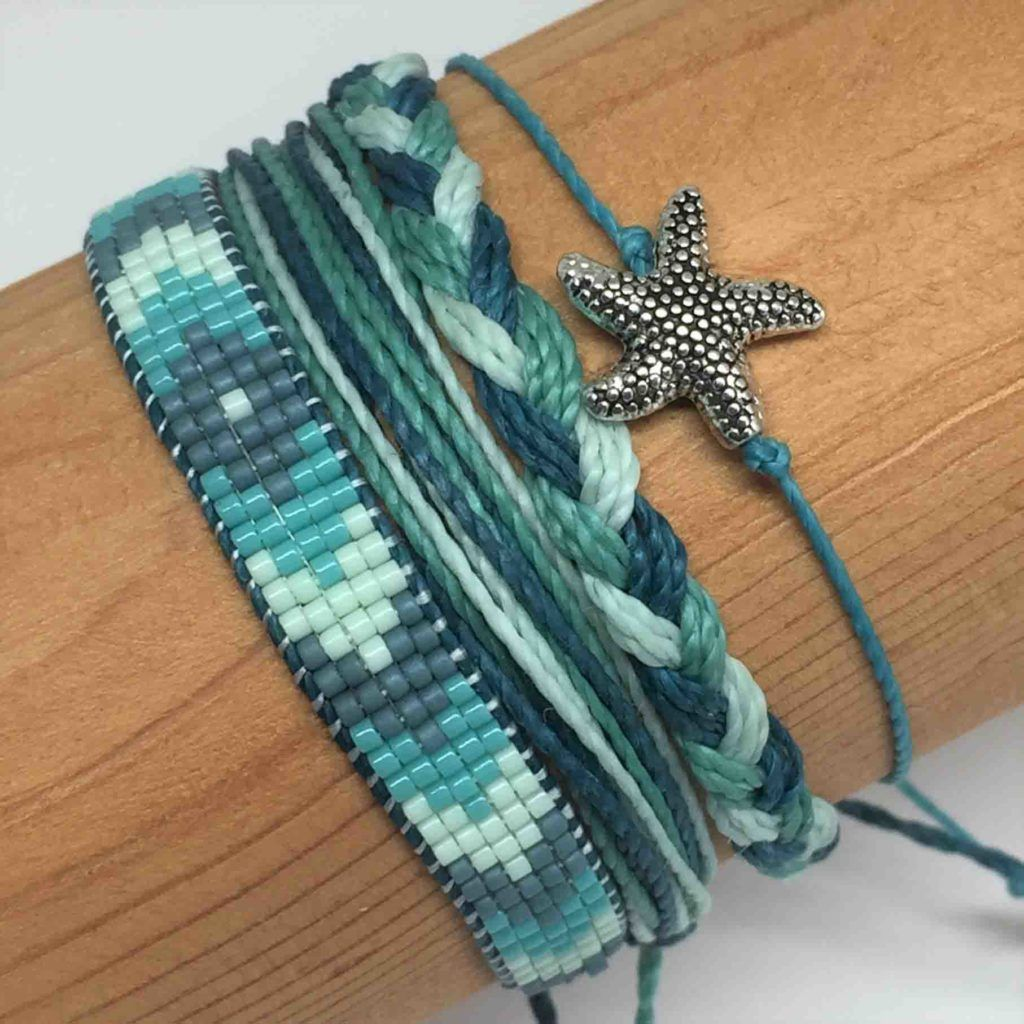 Photo of B and E Fave Friendship Bracelet Four Bracelet Set : Woven on Loom, Braided, Charm and Freeform Adjustable Waterproof Bracelets