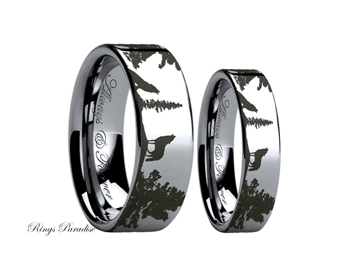Wolf Ring Couples Wedding Ring Wedding Band Sets Tungsten Band