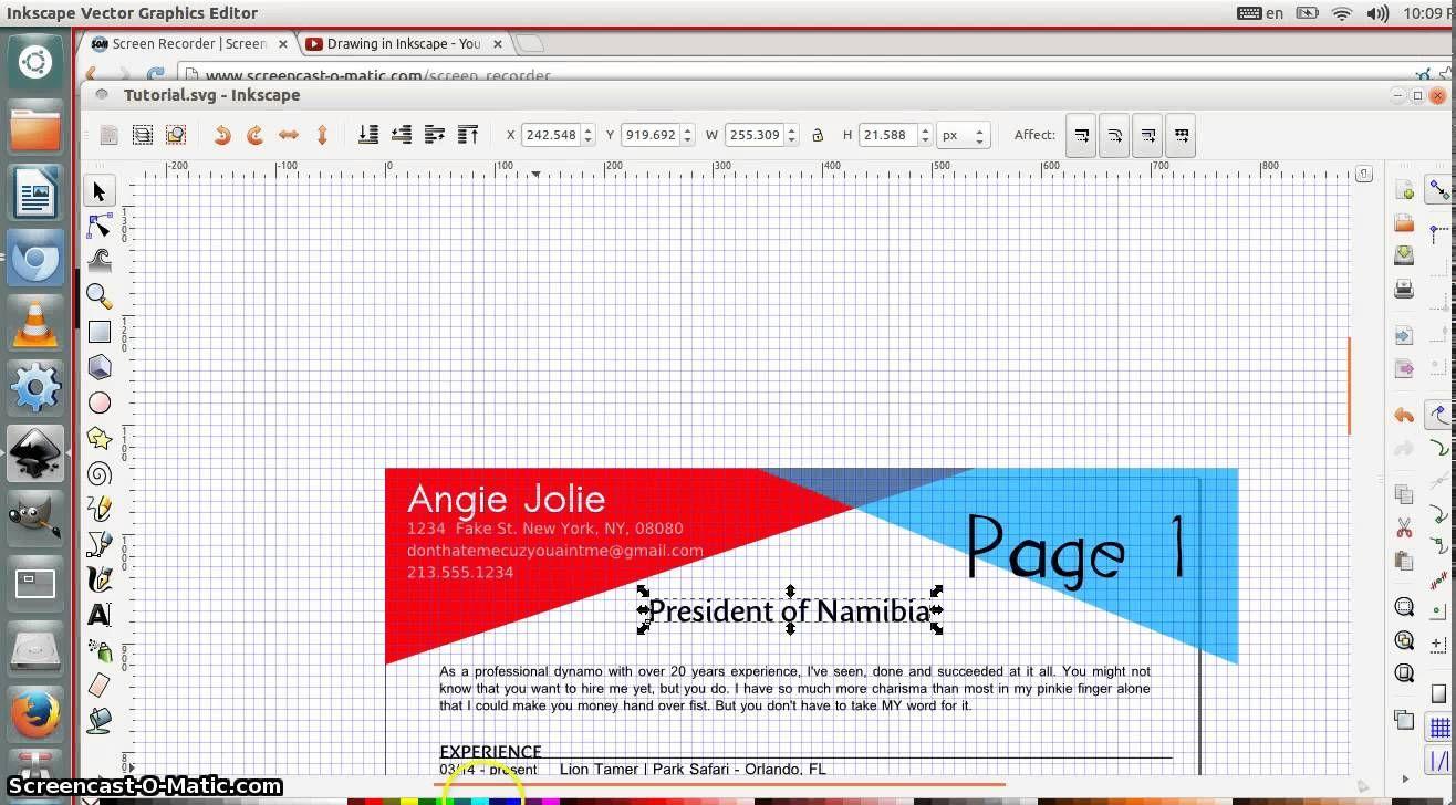 Inkscape Beginner Tutorial Editing A Document Cv Curriculum