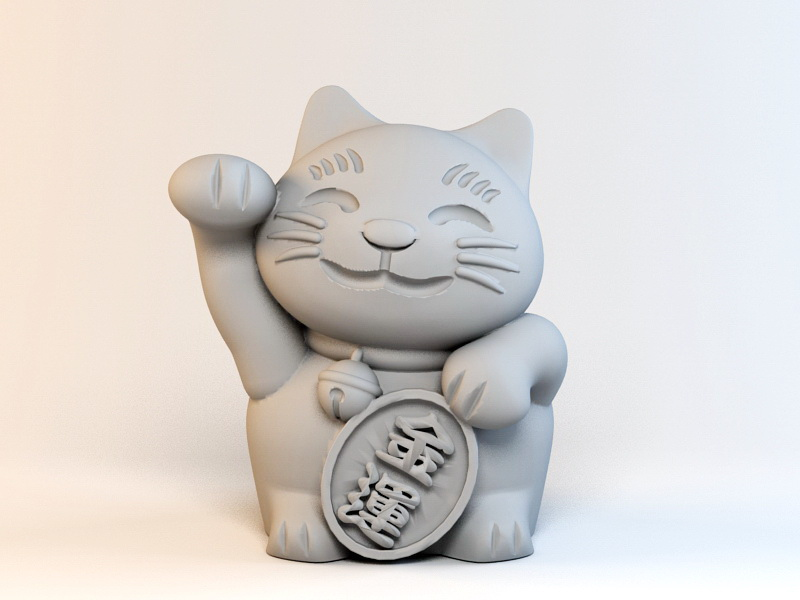 Beckoning Cat 3d model Object files free download