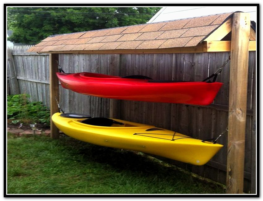 Outdoor kayak storage shed dam house dock pinterest for Canoe storage shed