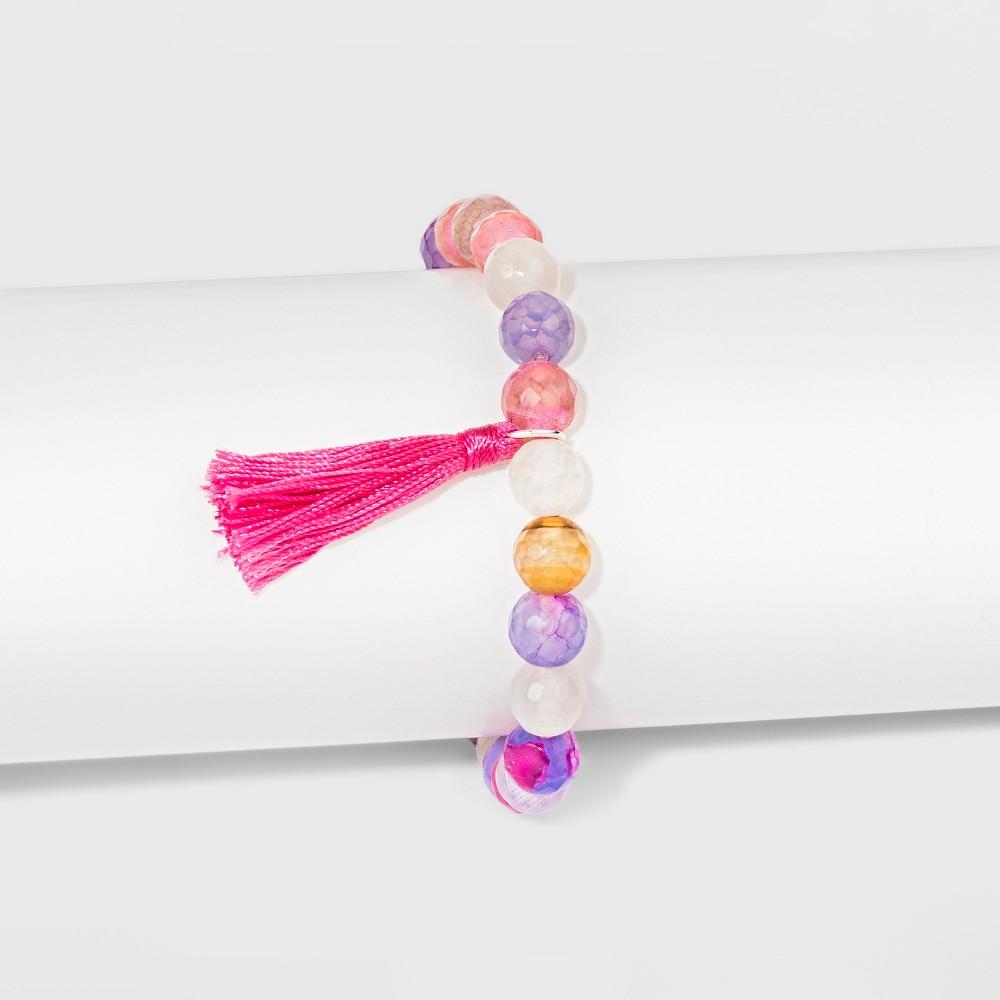 Women's Silver Plated Pink Fancy Jasper with Pink Tassel Bracelet - Silver (8)
