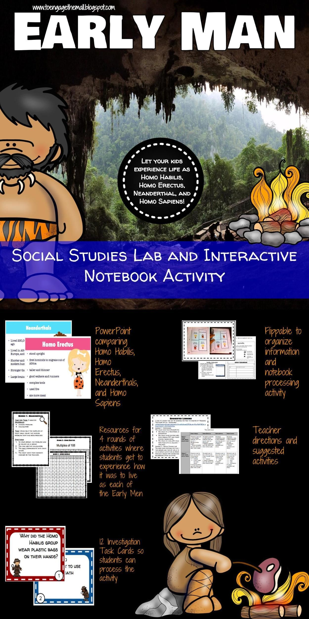 Early Man Hominid Interactive Notebook Activity And Social Stu S Lab