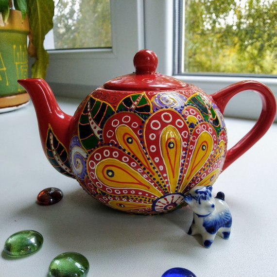 Items similar to Teapot, pottery, hand painted, red teapot,hand painted ceramics, painting dishes, beautiful kettle, for kitchen, dining room on Etsy