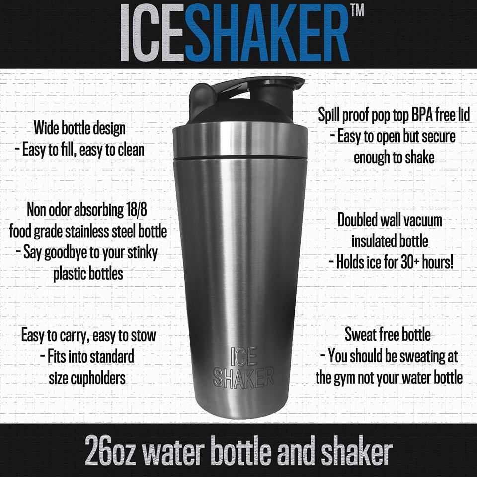Ice Shaker 26oz Stainless Steel Vacuum Insulated Double Wall Shaker Bottle That Does Not Absorb Odor And Holds I Insulated Bottle Shaker Bottle Protein Shaker