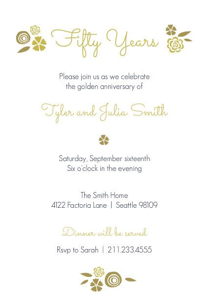 Floral golden anniversary invitation anniversary 50th pinterest easily customize this floral golden anniversary invitation design using the online editor all of our anniversary invitations design templates are fully stopboris Choice Image