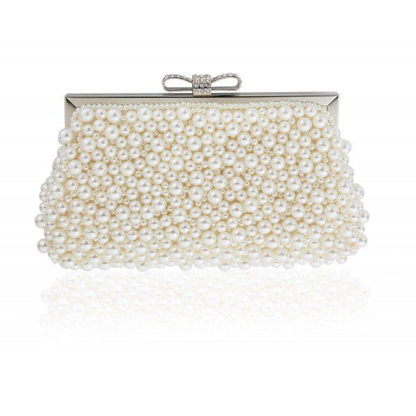 Ivory Cream Pearl Wedding Clutch Bag for Brides with Bow and Crystal Clasp by Vintage Styler