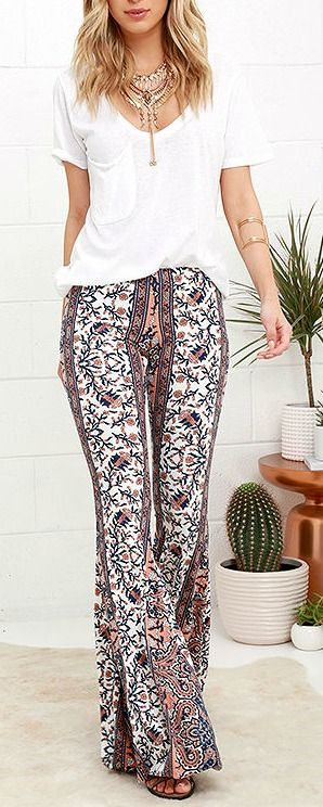 0570f11f6003 Floral Festival Peach and Navy Blue Floral Print Flare Pants in 2019 ...